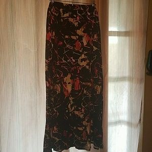 Navy Paint Splatter Maxi Skirt